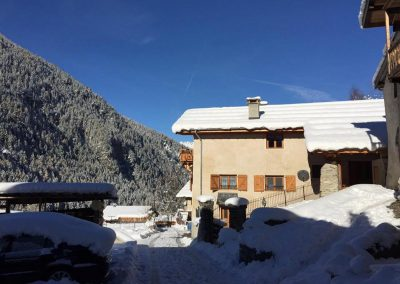 Chalet & Mountains In Winter